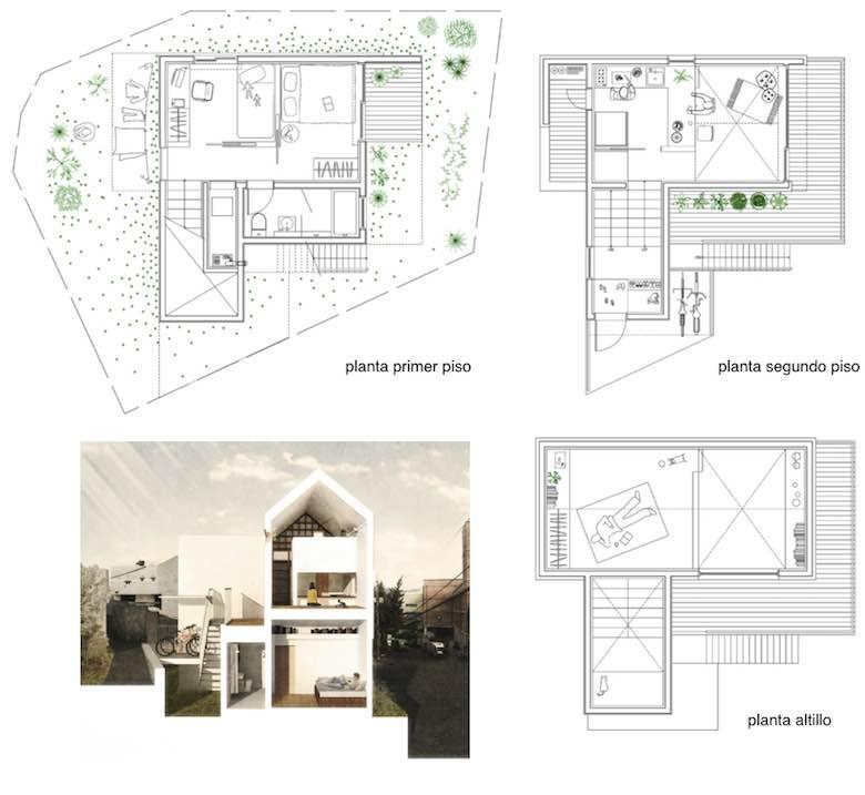 10 incre bles planos de casas de dos pisos que te van a for Tipos de escaleras para casas de 2 pisos