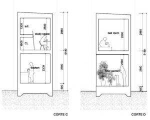 Corte transversal de una casa estrecha