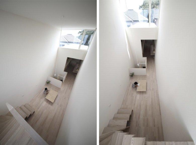 Interior de una casa estrecha