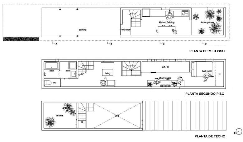 Como dise ar una casa estrecha de solo 3 metros de ancho - Casas estrechas y largas ...
