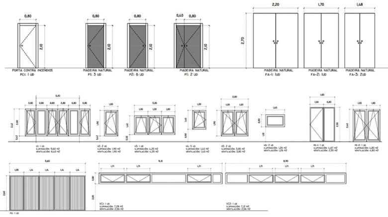Plano tecnico puertas y ventanas