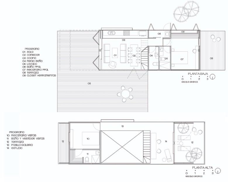 Planta casa de dos pisos